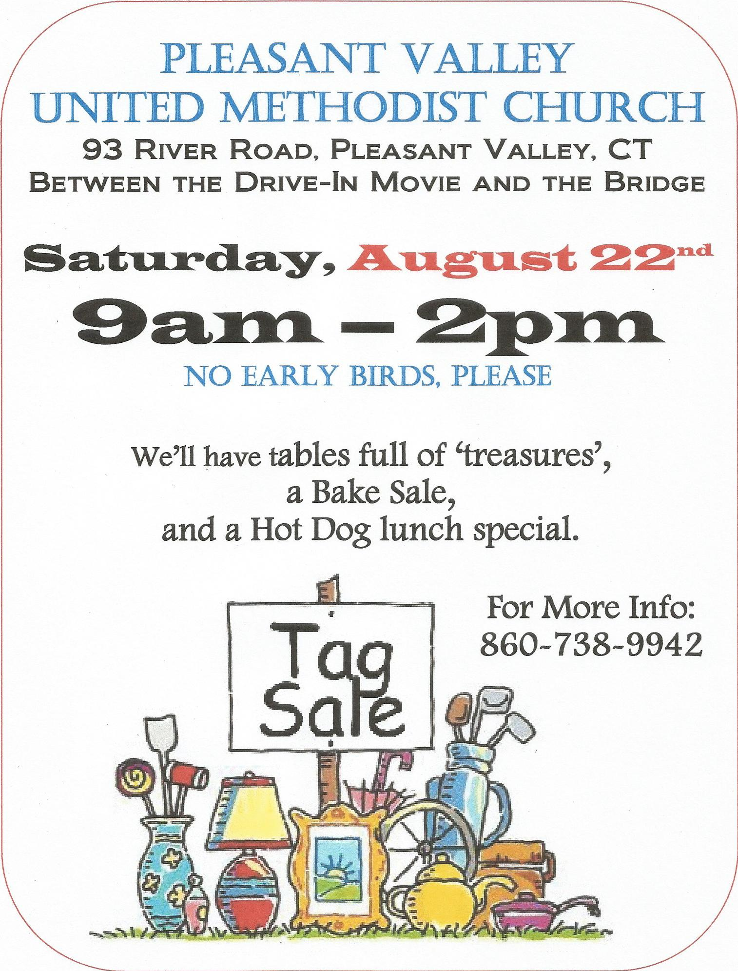 Church Tag Sale: August 22nd – Pleasant Valley United